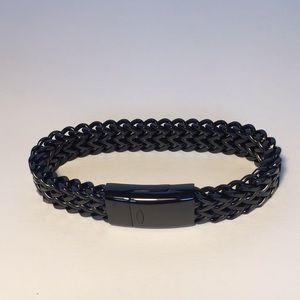 Men's Gloss Black Link Bracelet Magnetic Clasp